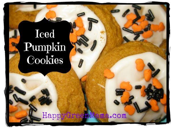 Harvest Iced Pumpkin Cookies @ happygreenmama.com #halloween #pumpkin