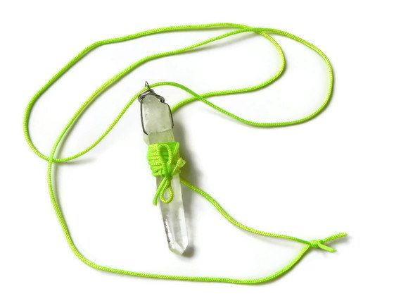 crystal point necklace crystal point jewelry neon by AdrianaSoto, $20.00