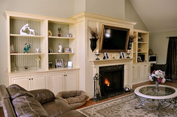 Family room w fireplace and built ins for the home for Family room built in ideas