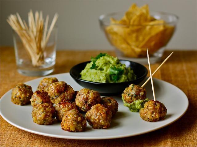 Mini Pork-Cheddar Meatballs with Guacamole | Recipe