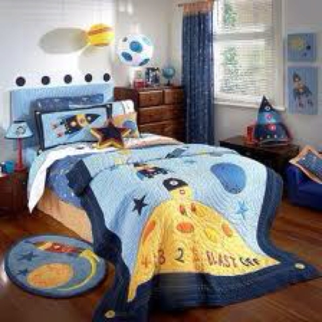 Space theme bedding space theme pinterest for Outer space bedroom design