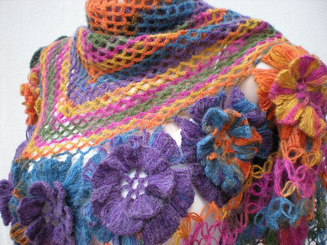 Crocheting By Hand : crochet hand crocheted violet colorful shawl By crochetbutterfly