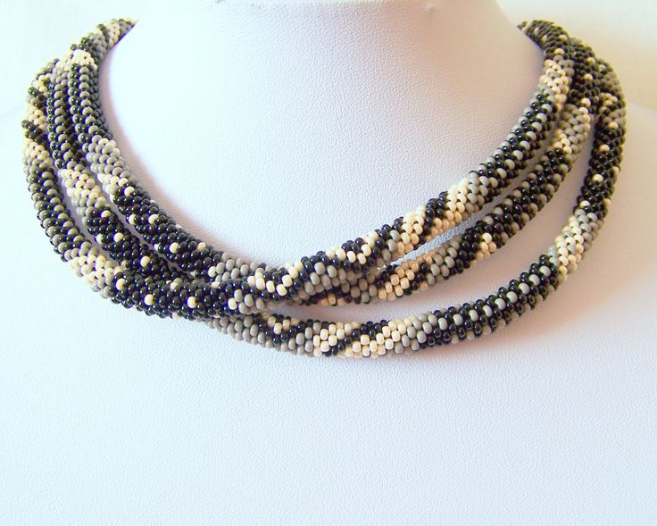 sale beaded crochet rope necklace