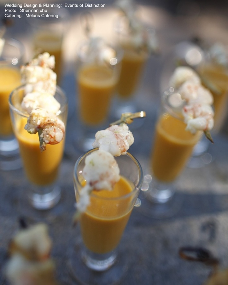 Butternut Squash Soup with Sage Popcorn Hors d'oeuvres
