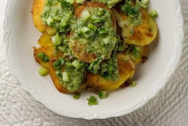 Crispy Potato Salad With Anchovy Chimichurri Recipe — Dishmaps