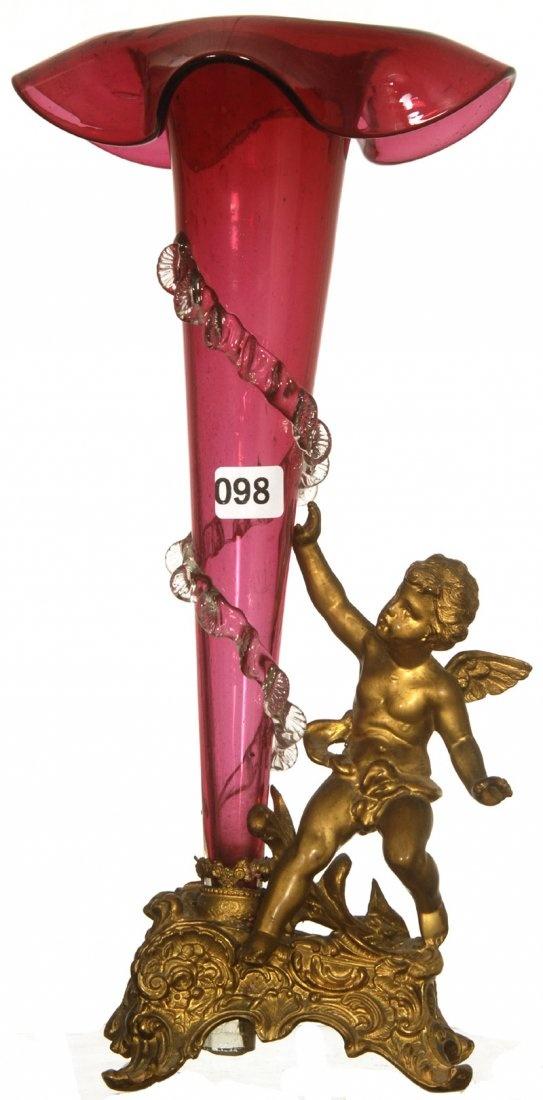 CRANBERRY ART GLASS ON набор Ваза фигурная металлическая подставка GILT CHERUB