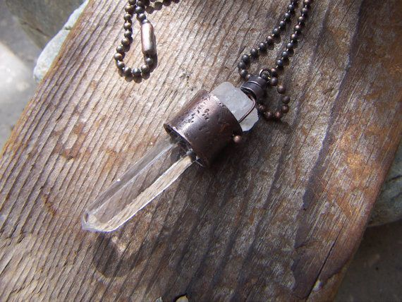 Rustic Rock Quartz Pendant for Him and Her by annamei on Etsy, $45.00