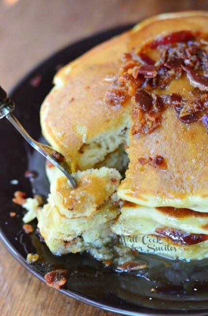 Maple Bacon Pancakes 5 from willcookforsmiles.com #pancakes #maple # ...