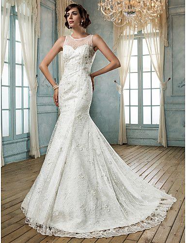 trompete / sereia jóia rendas e vestido de noiva de tule (604.693) - BRL R$ 426,12