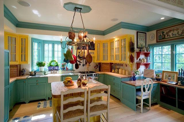 Aqua And Yellow Kitchen Home Design