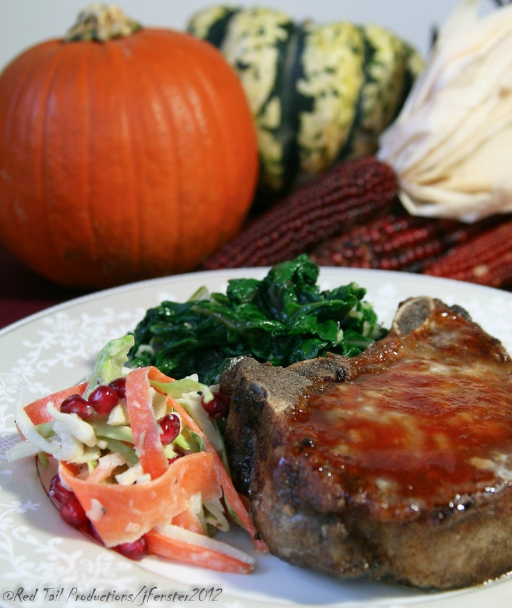 ... Pear Glaze; Roasted Fennel, Apple and Pomegranate Slaw with Garlic