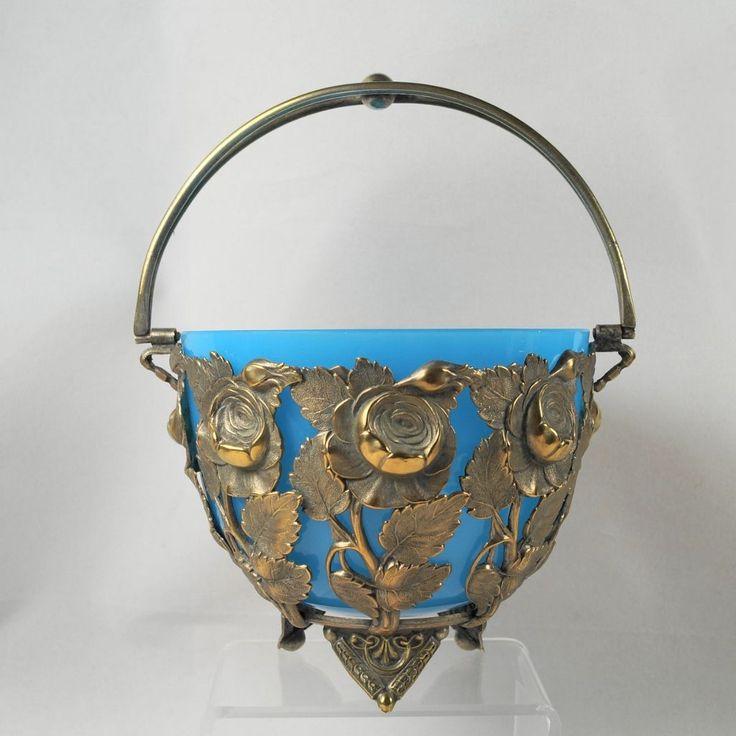 Античный французский Корзина Сахар, свинка Металл Celeste & Blue Glass c.1900