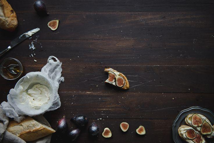 Homemade ricotta // fig, ricotta, & honey tartines.