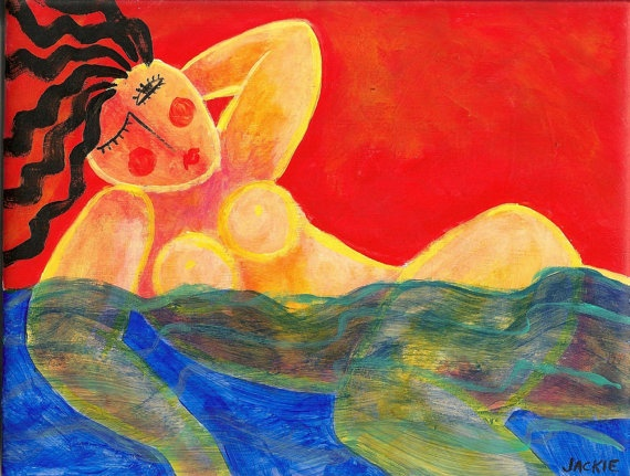 Abstract Nude Painting of Woman Swimming in the by jackieludtke, $40.00