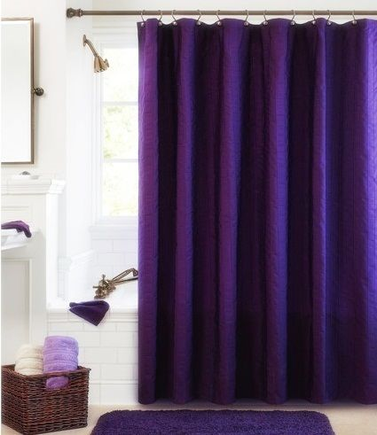Pom Pom Curtain Panels Purple Fabric Shower Curtain