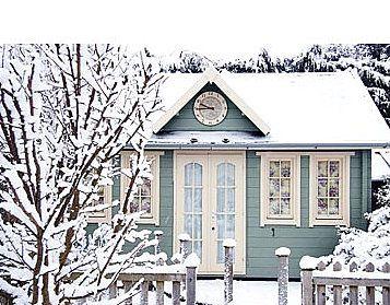 A cozy winter cottage.