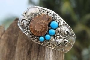 Navajo Style 925 Silver Turquoise and Ammonite Bracelet | bowtiful - Jewelry on ArtFire