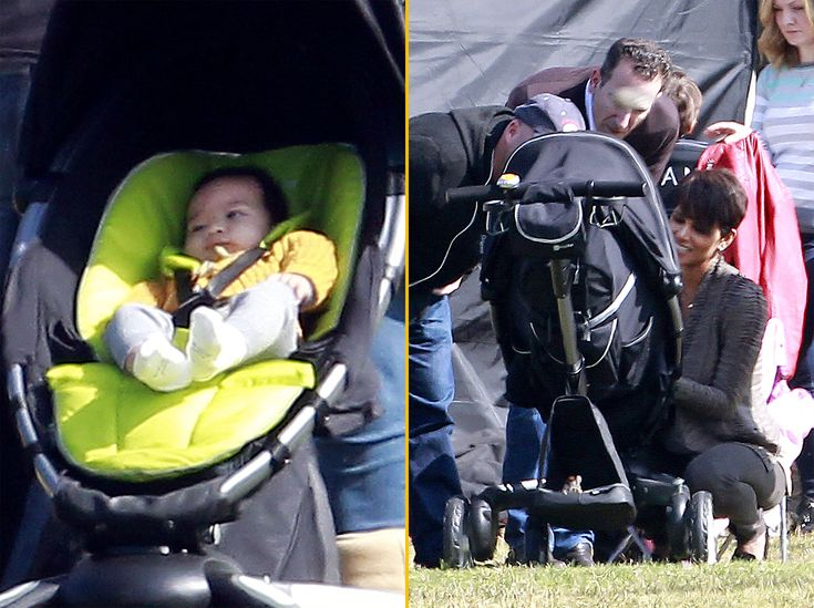 Halle berry gets a visit from her 5 month old baby son maceo on the