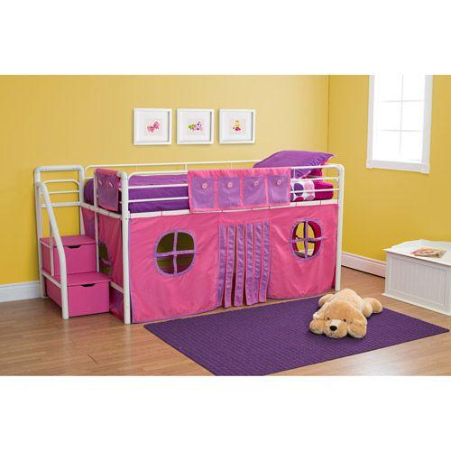 girls 39 twin loft bed with storage steps. Black Bedroom Furniture Sets. Home Design Ideas