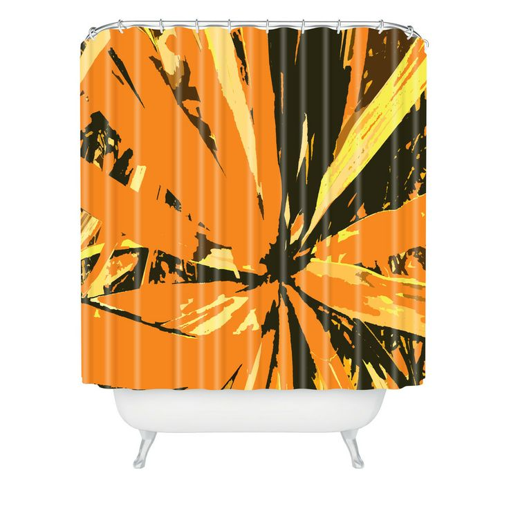 Rosie Brown Orange Bromeliad Shower Curtain