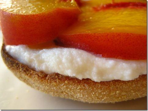 Open face Peach and ricotta English muffin sandwich