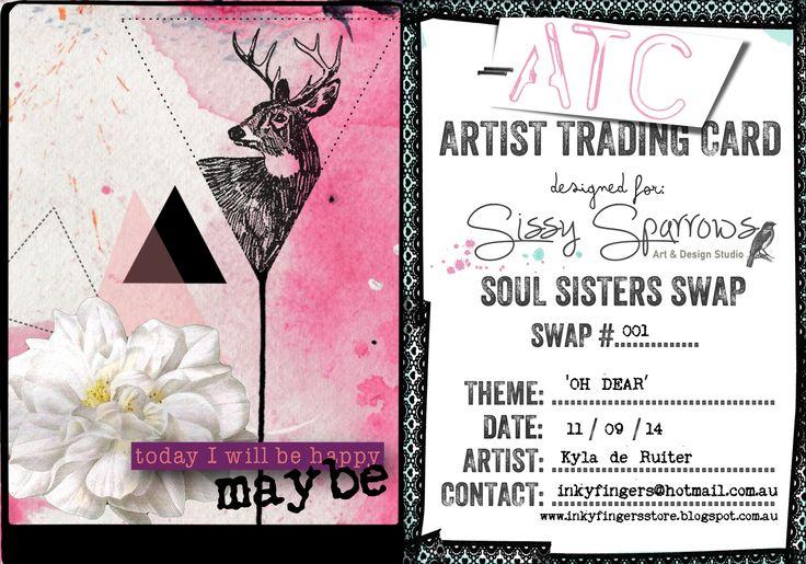 'Oh Dear' - Digital ATC #001 Soul Sister's ATC Swap Lounge - Sissy Sparrows by Kyla deRuiter of http://inkyfingersstore.blogspot.com.au/