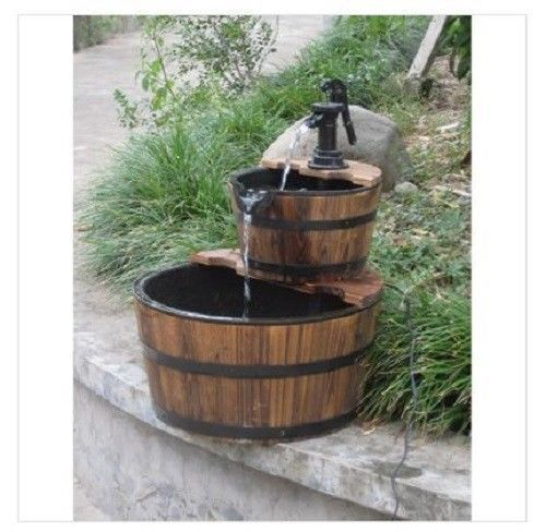 Two Tiered Rustic Wooden Whiskey Barrel Fountain W