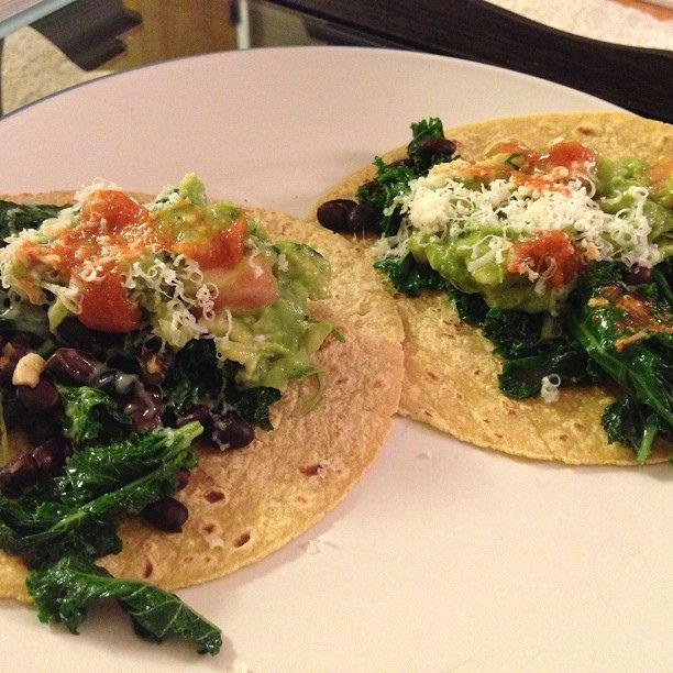 Kale and Black Bean Tacos by nomsnotbombs, via Flickr