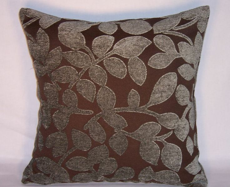 Blue Grey and Brown Leaf Sculpted Chenille Throw Pillow