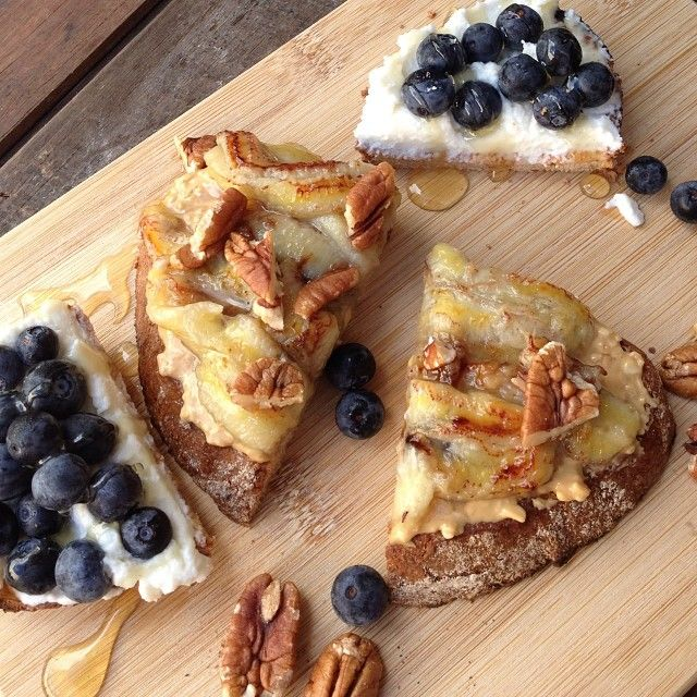 banana ricotta toasts with pecans dates and honey ricotta on toast ...