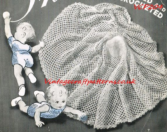 VCP205 baby circular shawl vintage crochet pattern PDF ...