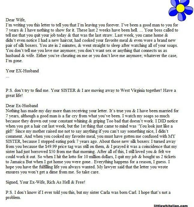 Best Divorce Letter Ever   Funny Is Funny   Pinterest