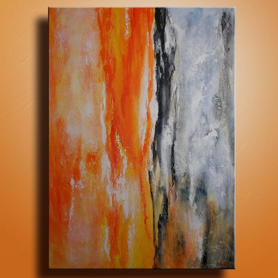 Original abstract painting on canvas contemporary modern for Orange wall art