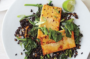 Fried Black Rice With Ginger Tofu And Spinach Recipe — Dishmaps