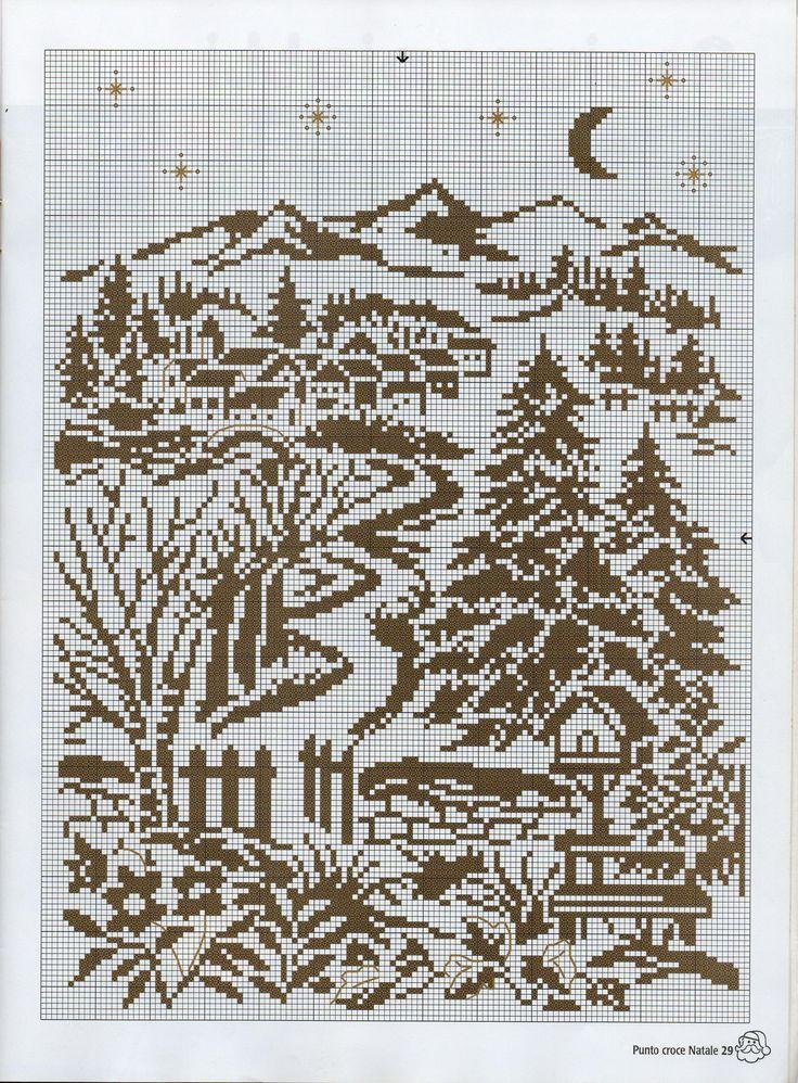 Вышивка крестом монохром пейзаж схемы 690
