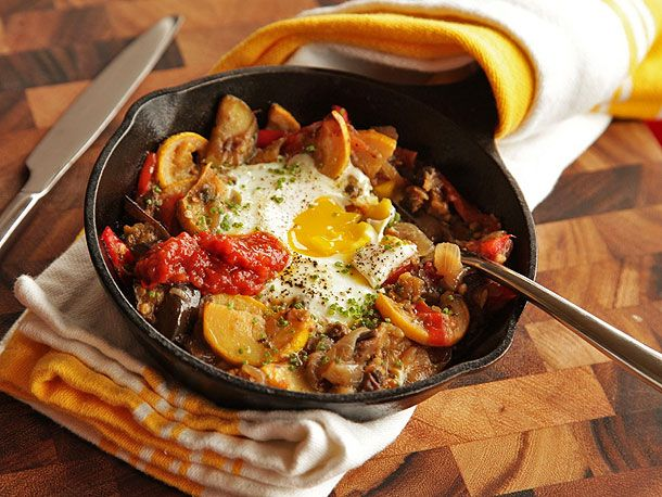 Eggplant, Squash, and Cherry Tomato Hash With Baked Eggs   Serious ...
