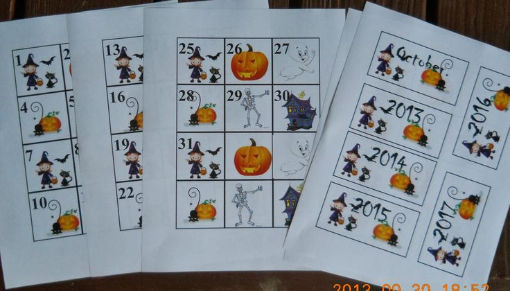 Halloween Calendar pieces, free printable!