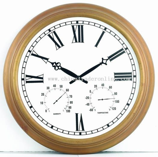 18inch metal wall clock with temperature humidity display from china