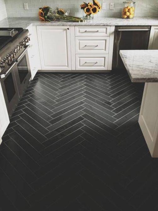 Herringbone Floor Tile I THINK I LIKE THIS A LOT But Black Would