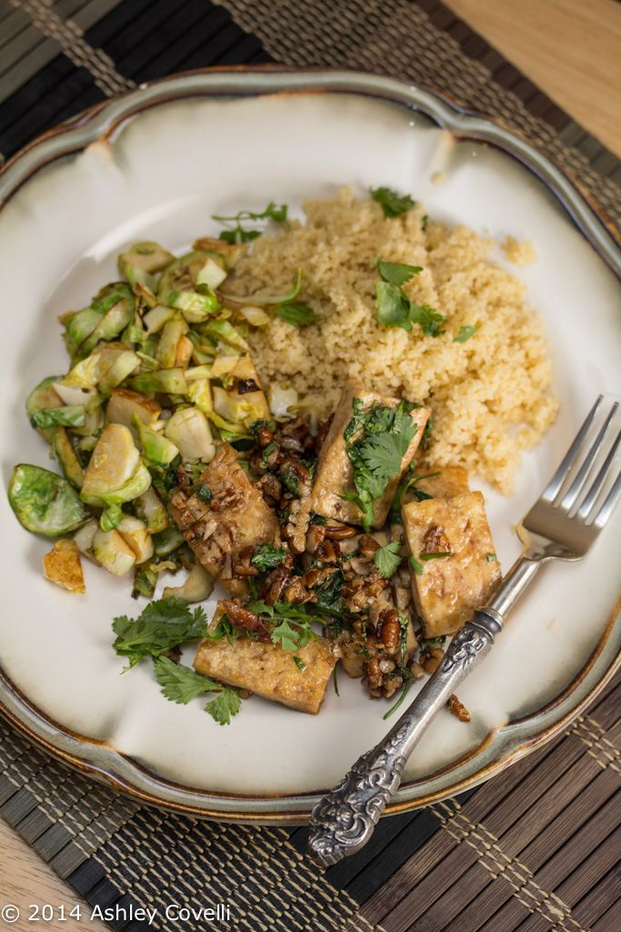 Caramelized Tofu with Brussels Sprouts | Vegan | Pinterest