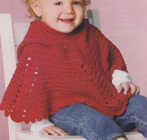 Childs Hooded Poncho Crochet Pattern - Childs Size 2-3