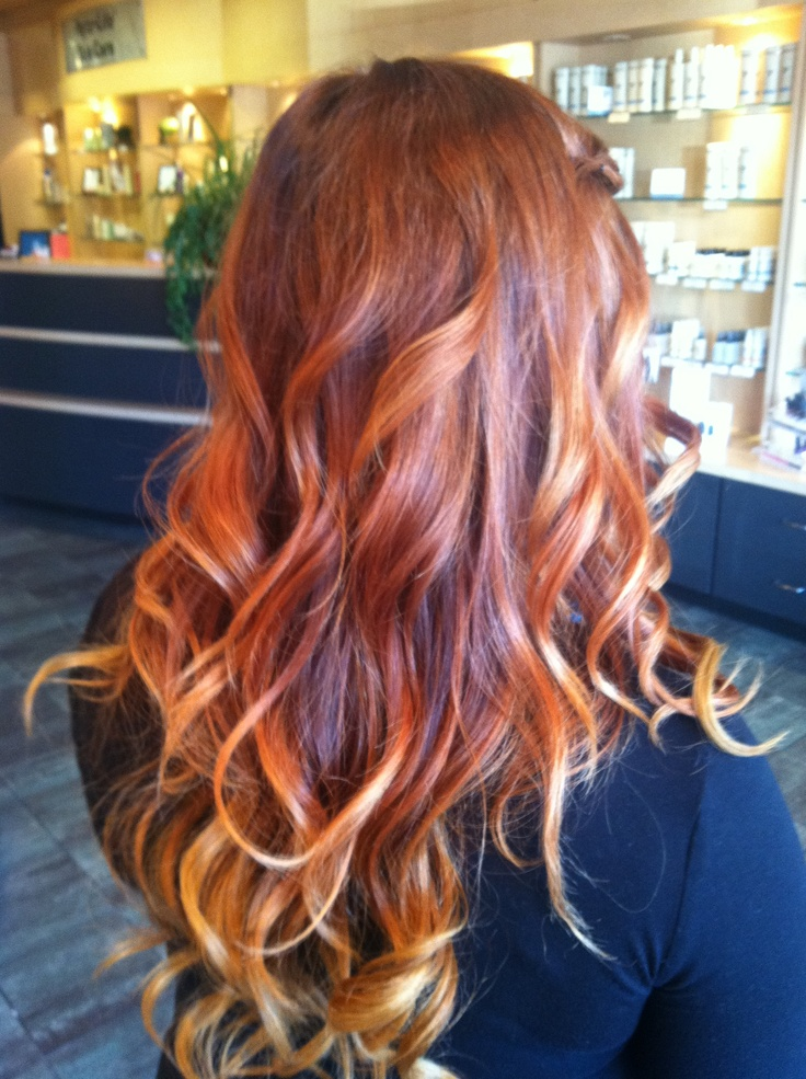 The gallery for copper red ombre hair for Ombre mittellang