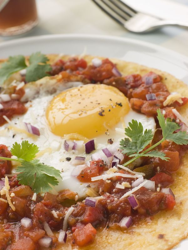 huevos rancheros - needs chorizo, tortilla chips, a side of bacon and ...