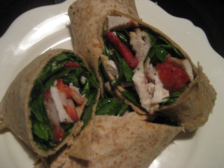 Chicken Strawberry Wraps. A great way to use up leftover chicken and makes an excellent lunch or dinner option for when you are in a rush.