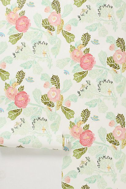 watercolor peony wallpaper // anthropologie - How beautiful would this be as an accent wall in a little girl's room?