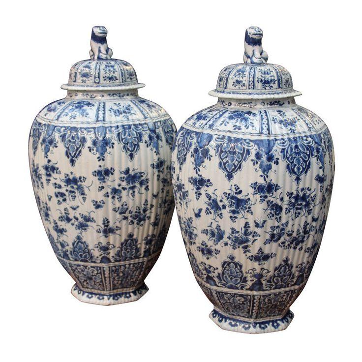 Delft Blue Urns ~ 18th Century
