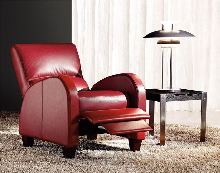 Coleraine Leather Recliner Chair In Red Dl Lounge
