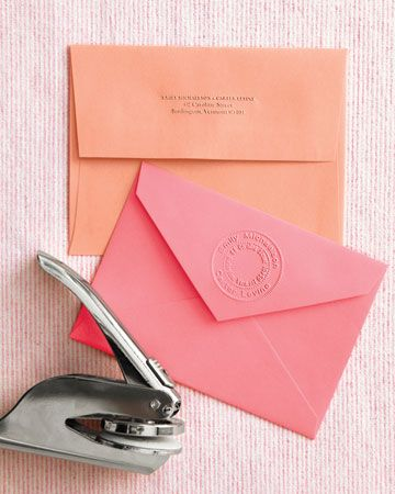 Custom Embosser: This handheld tool can imprint your return address onto envelope flaps, save-the-dates, and thank-you notes. This one is by Rubber Stamps, Inc. [<3]