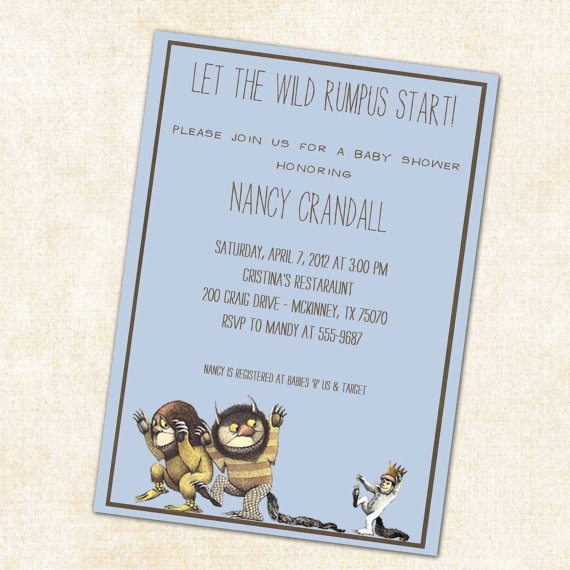 where the wild things are baby boy shower invitations wild rumpus di