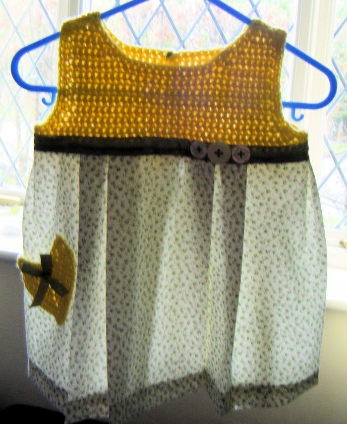 Baby Summer Dress Crochet Cotton and Fabric